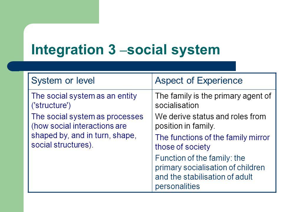 Integration 3 –social system