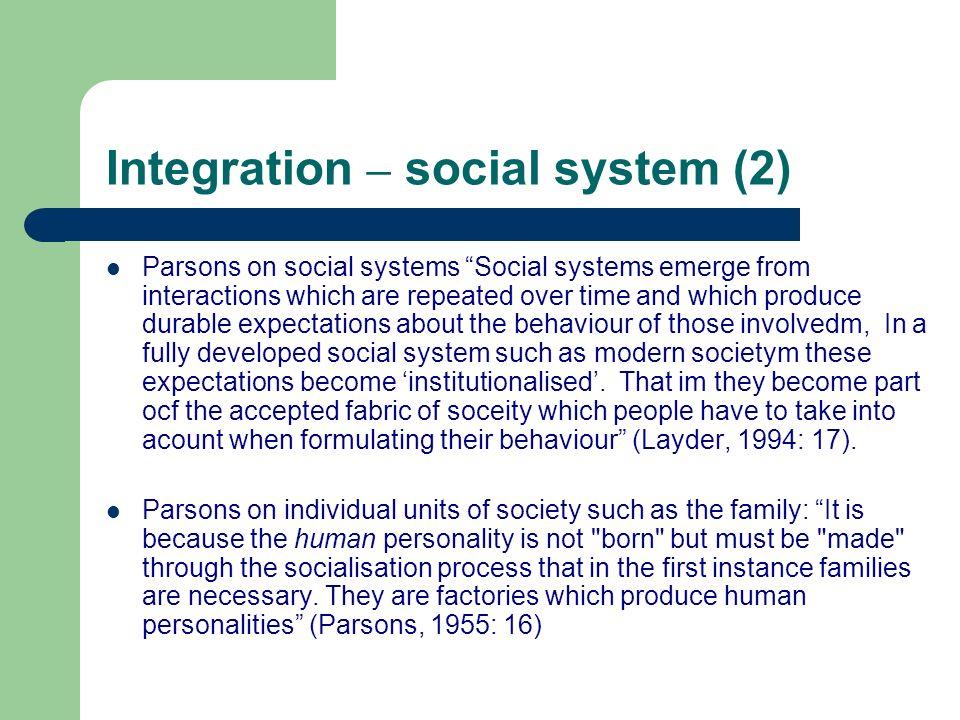 Integration – social system (2)
