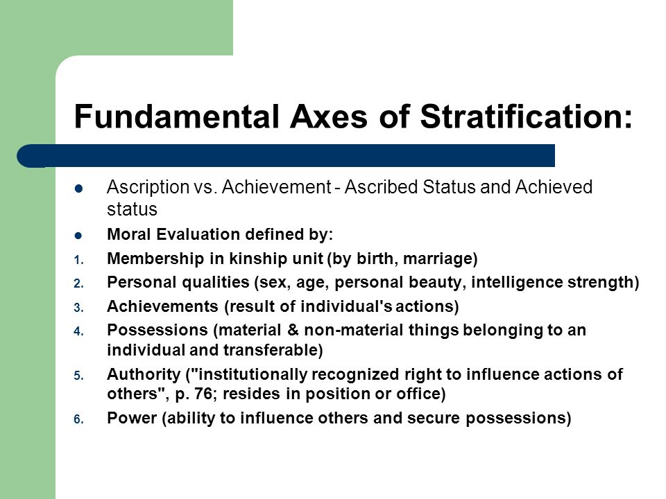 Fundamental Axes of Stratification: