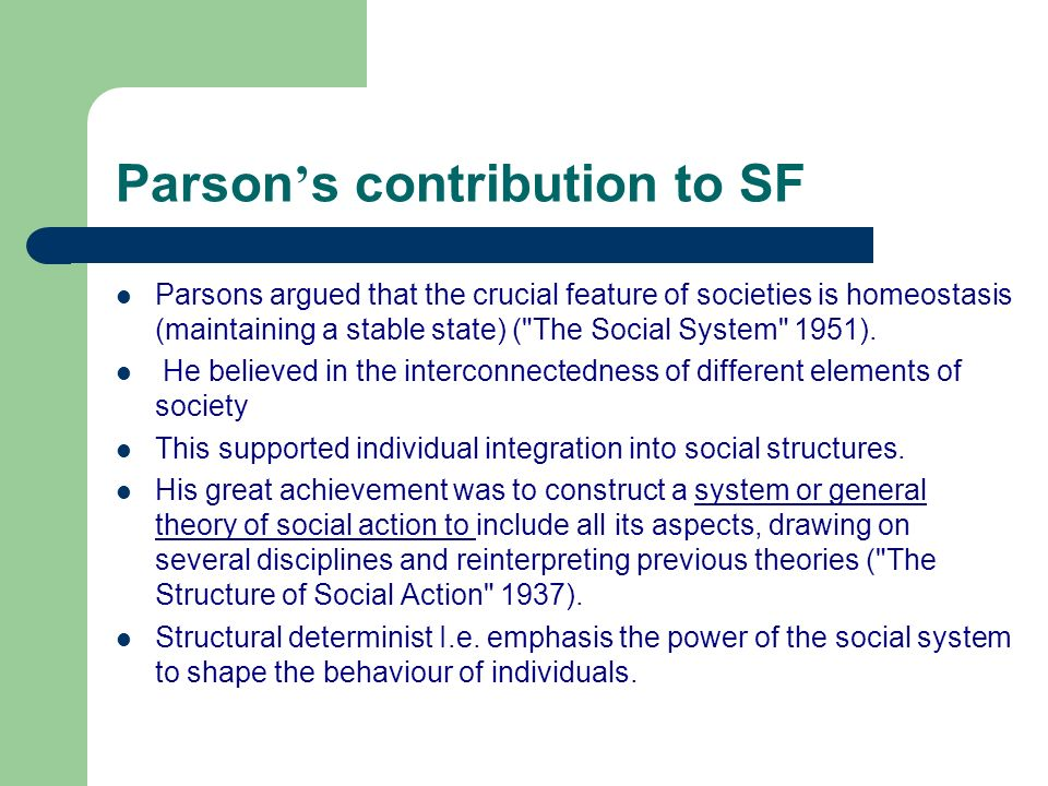 Parson's contribution to SF