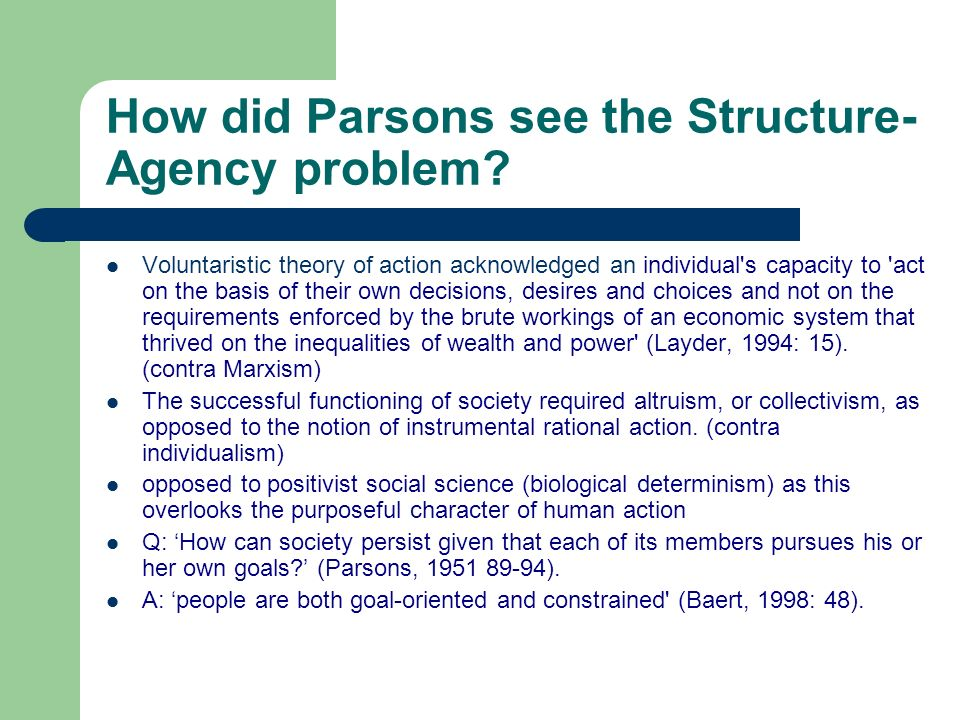 How did Parsons see the Structure-Agency problem