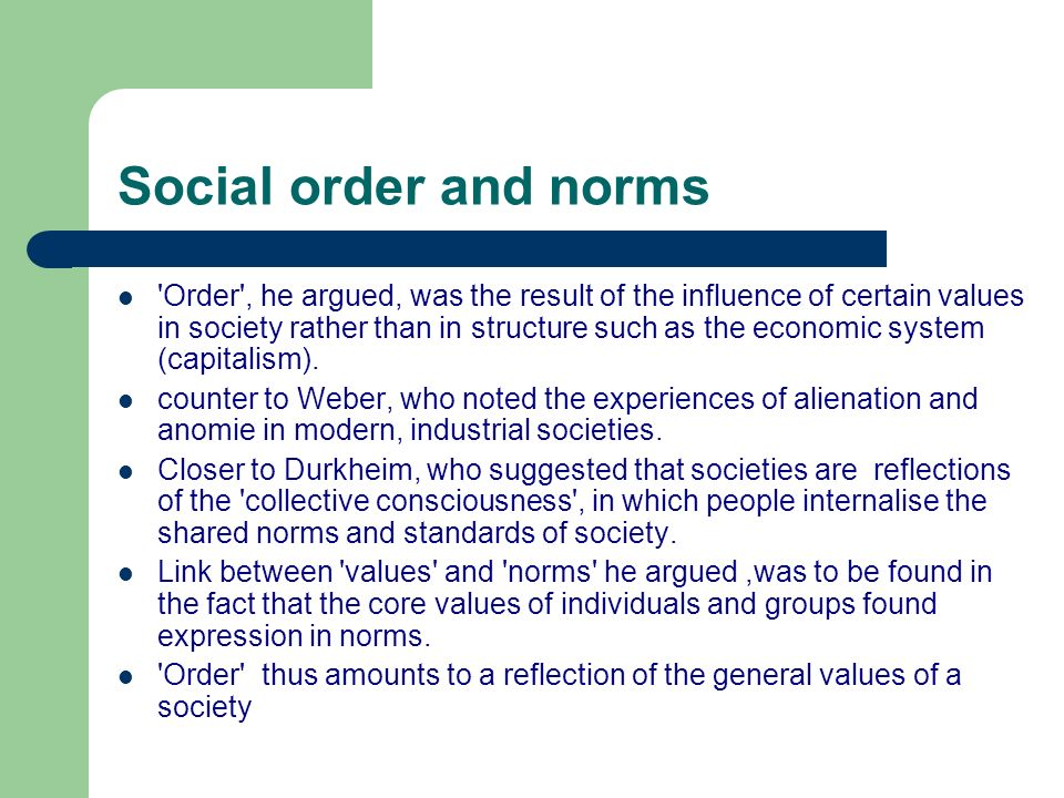 Social order and norms