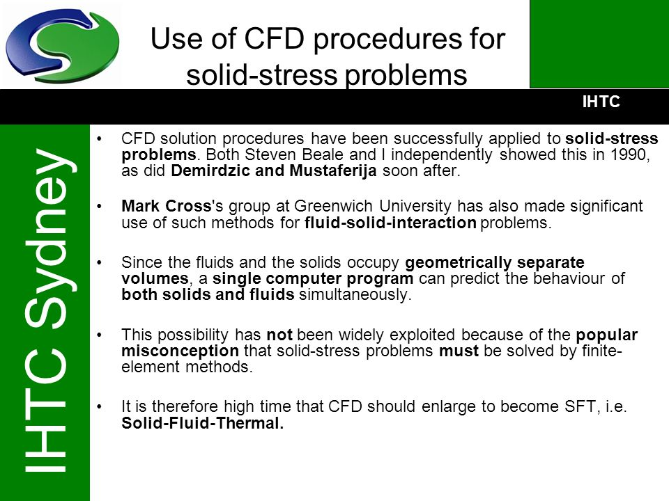 Use of CFD procedures for solid-stress problems