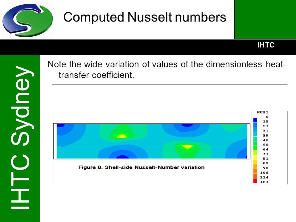Computed Nusselt numbers
