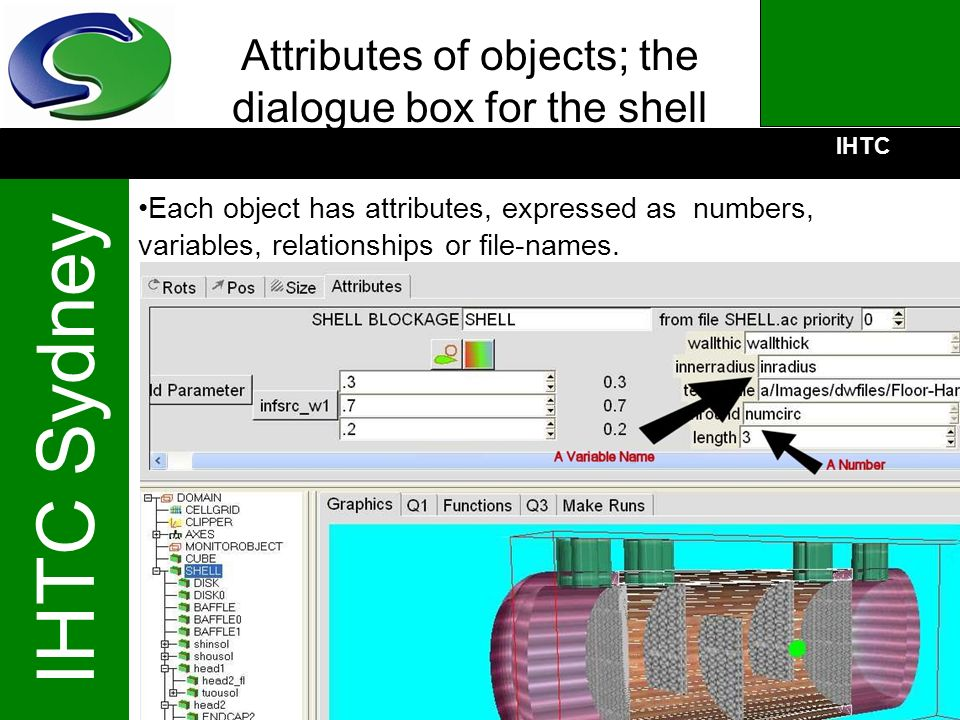 Attributes of objects; the dialogue box for the shell