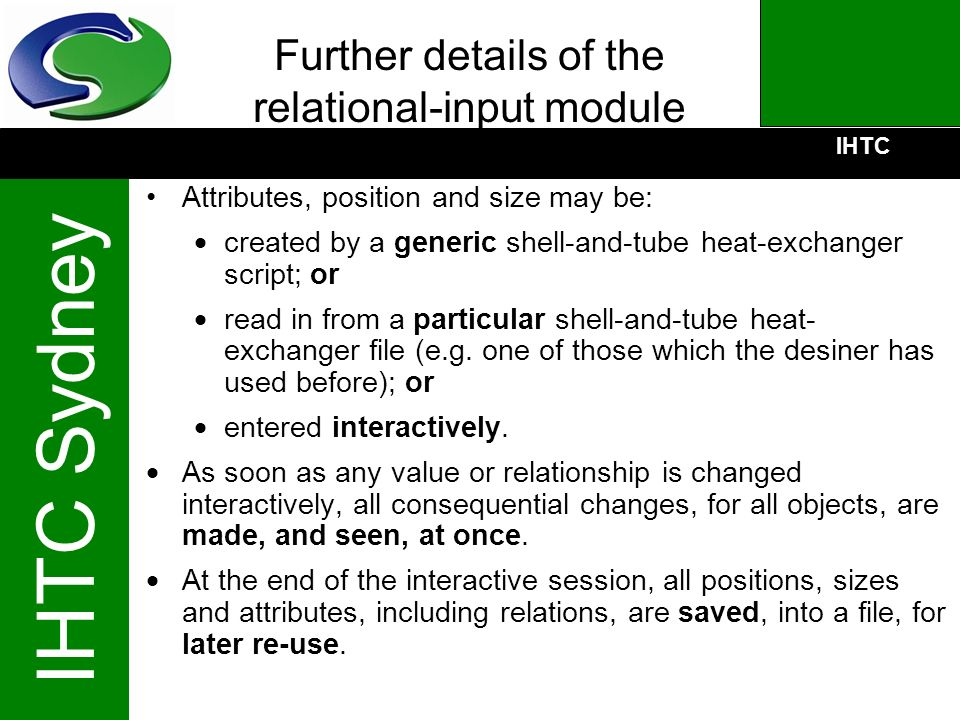 Further details of the relational-input module
