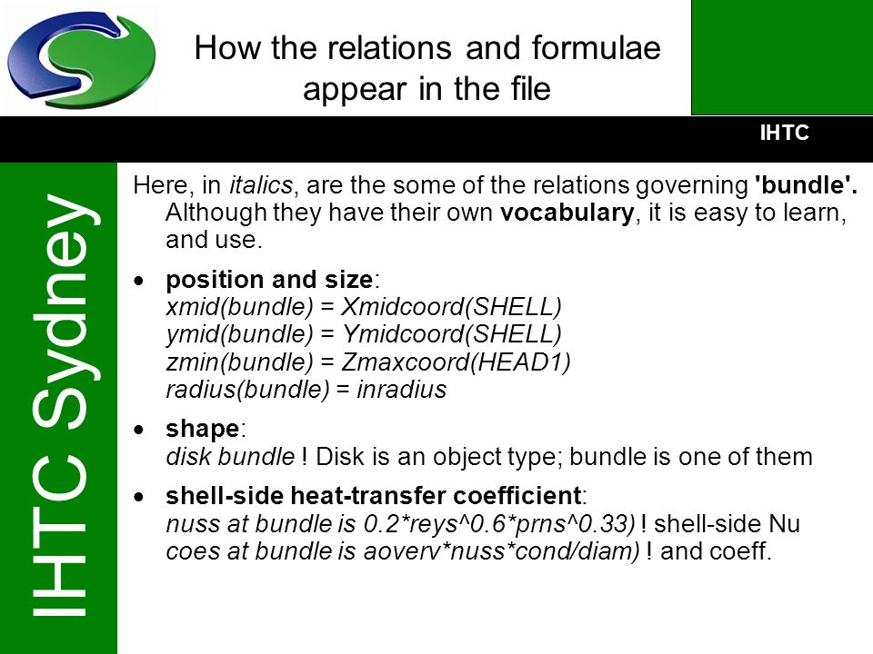How the relations and formulae appear in the file