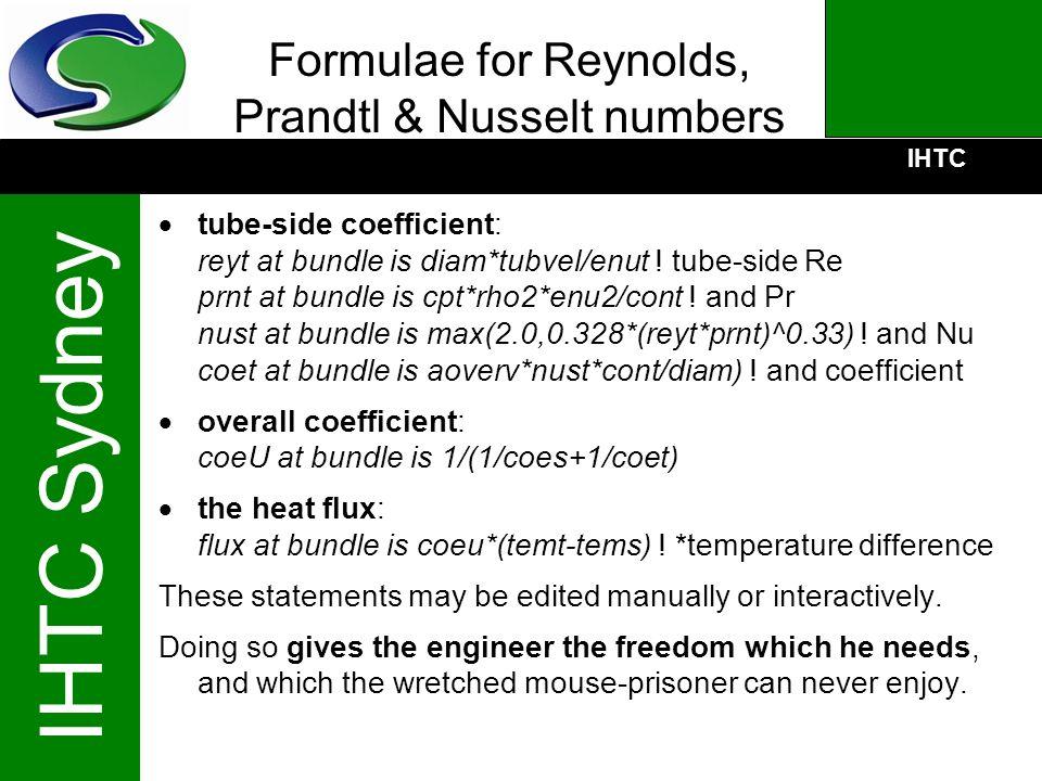 Formulae for Reynolds, Prandtl & Nusselt numbers
