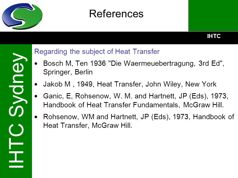 References Regarding the subject of Heat Transfer