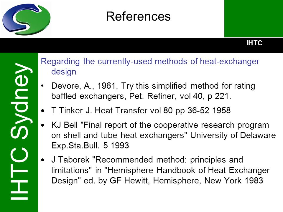 References Regarding the currently-used methods of heat-exchanger design.
