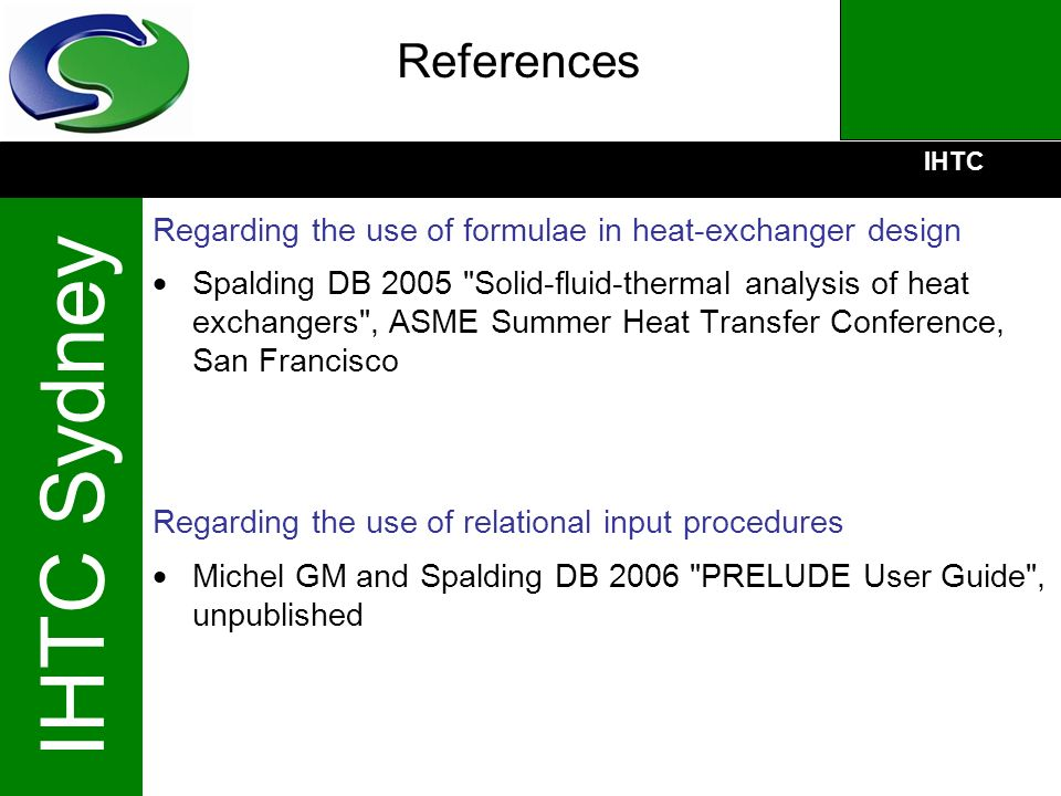 References Regarding the use of formulae in heat-exchanger design