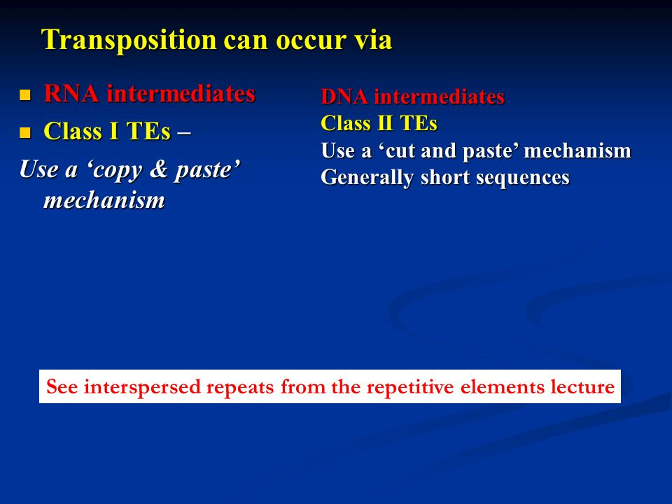 Transposition can occur via
