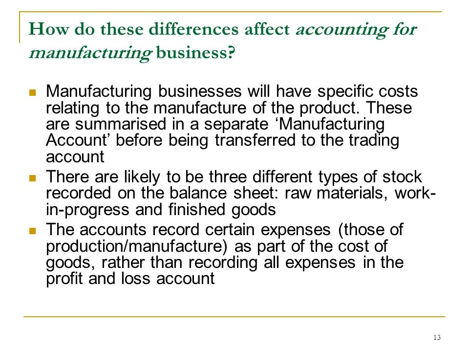 How do these differences affect accounting for manufacturing business