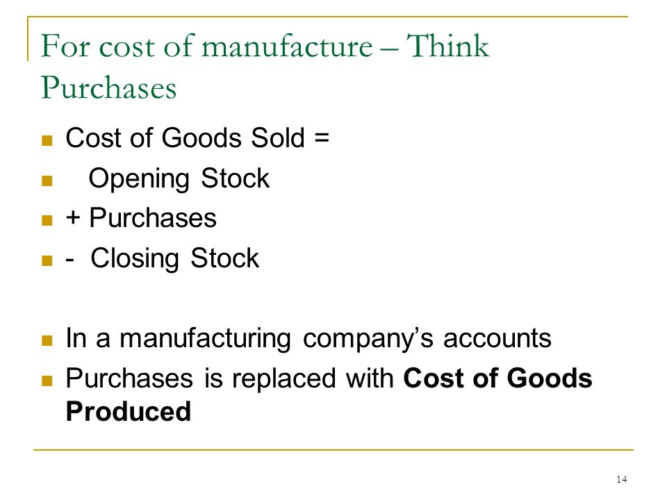 For cost of manufacture – Think Purchases
