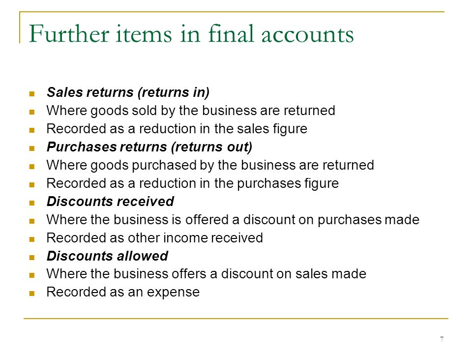 Further items in final accounts