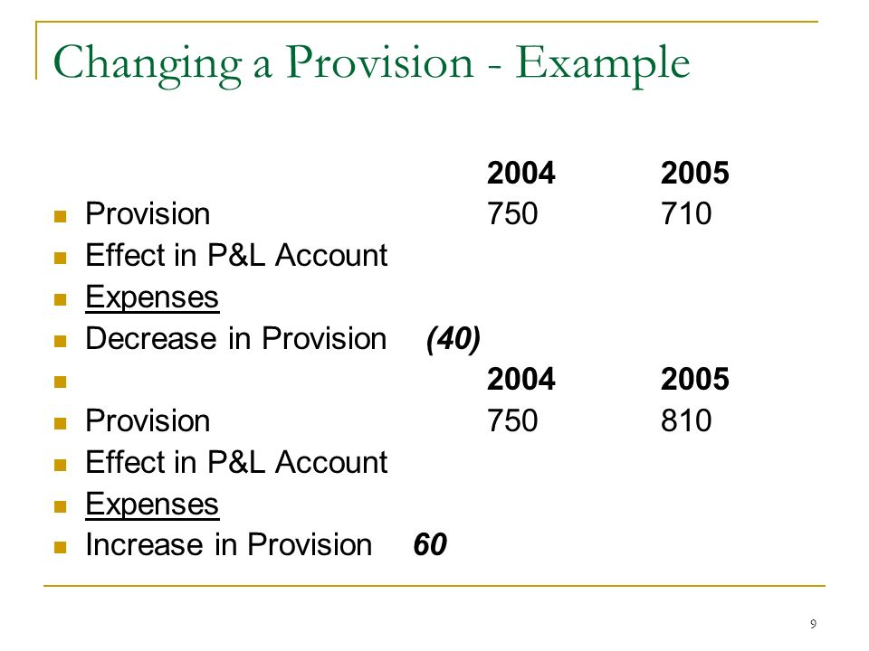 Changing a Provision - Example