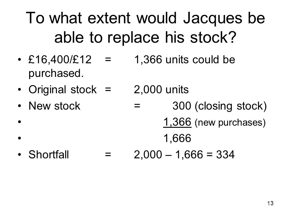 To what extent would Jacques be able to replace his stock