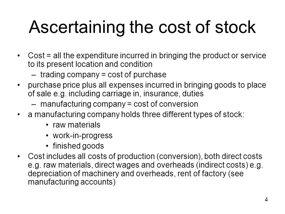 Ascertaining the cost of stock