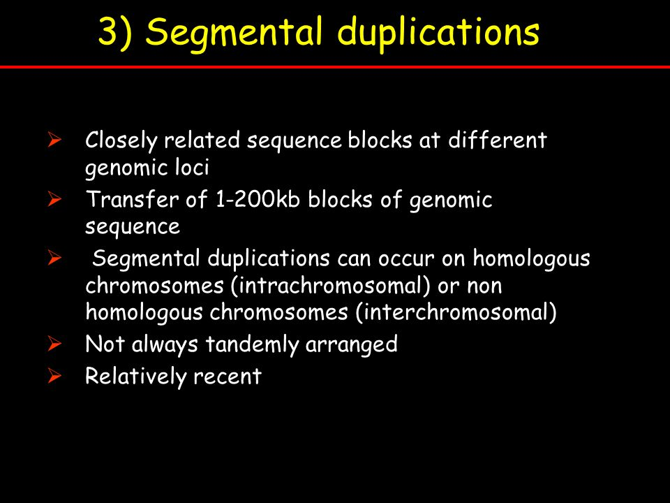 3) Segmental duplications