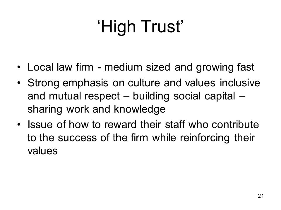 'High Trust' Local law firm - medium sized and growing fast