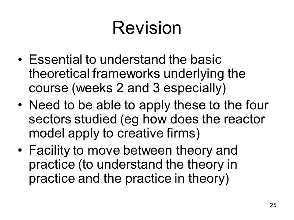 Revision Essential to understand the basic theoretical frameworks underlying the course (weeks 2 and 3 especially)