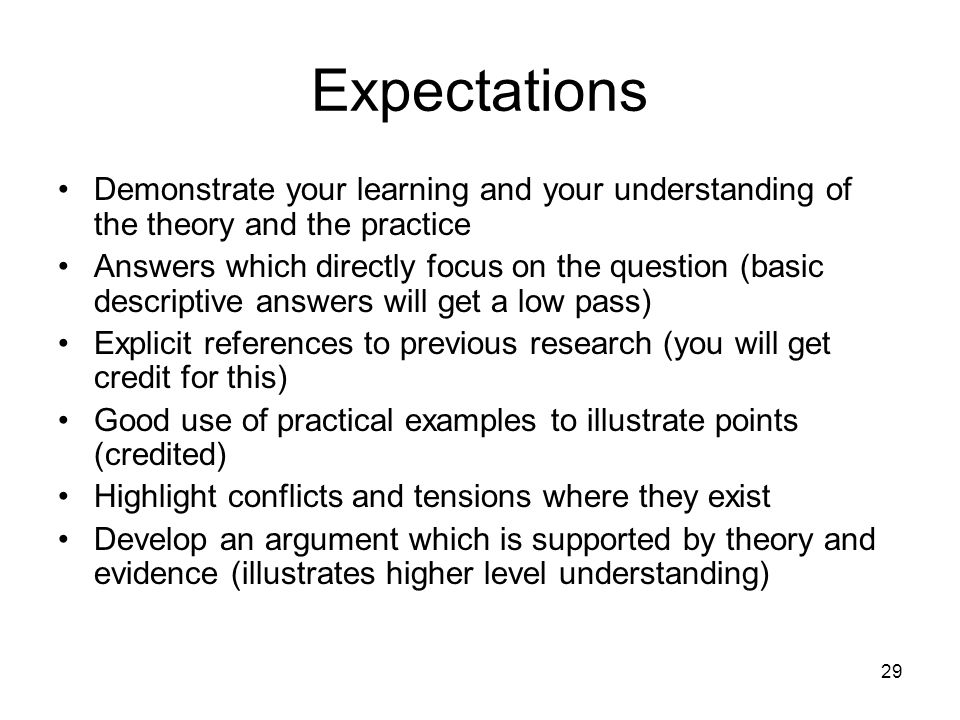 Expectations Demonstrate your learning and your understanding of the theory and the practice.