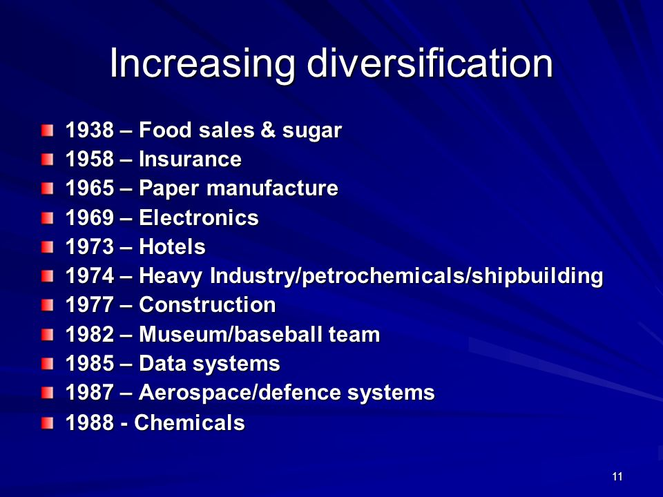 Increasing diversification