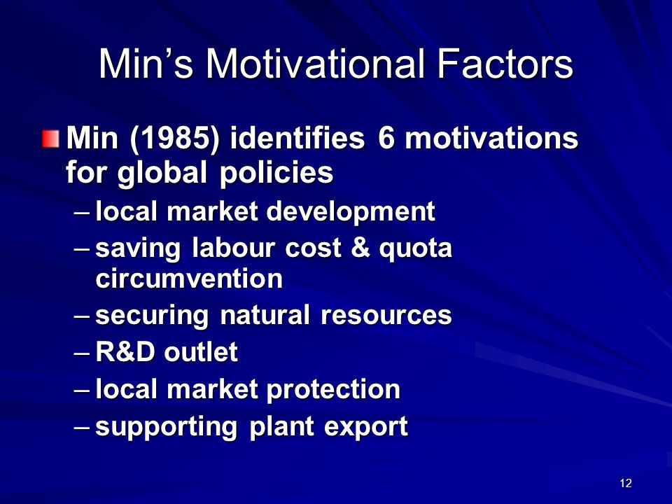 Min's Motivational Factors