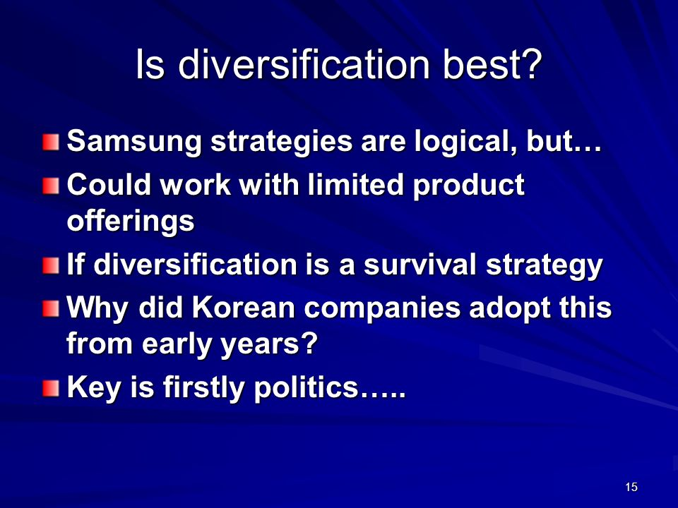 Is diversification best