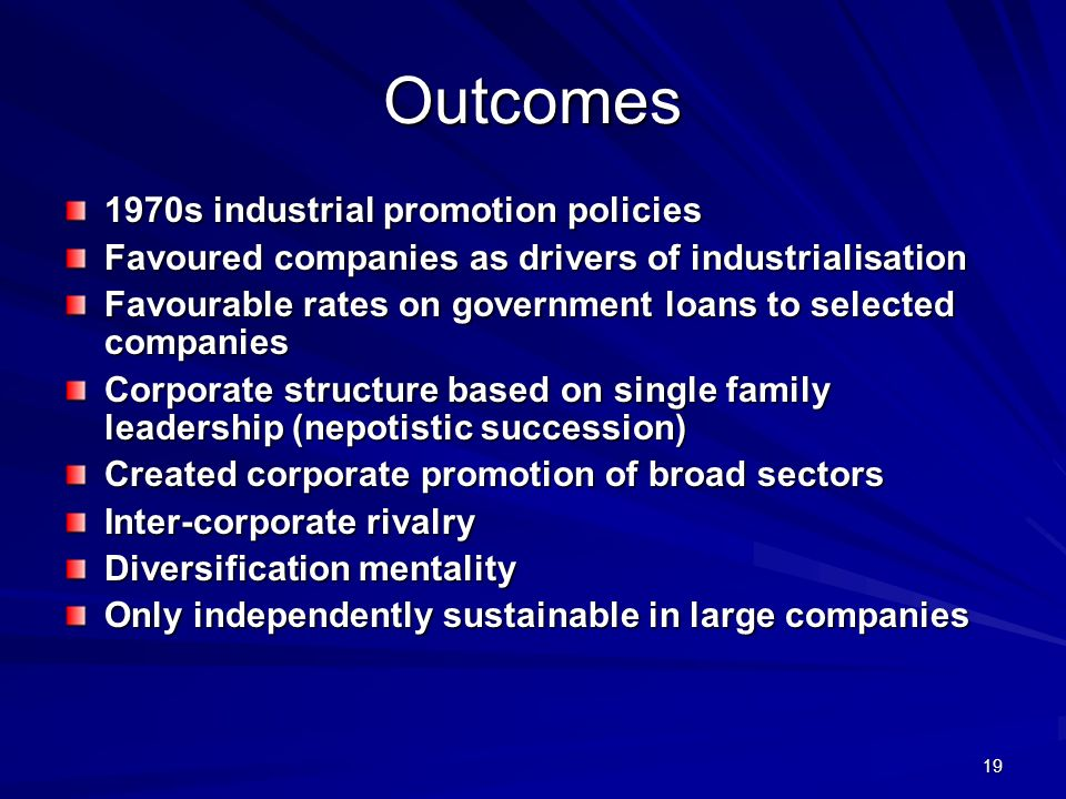 Outcomes 1970s industrial promotion policies