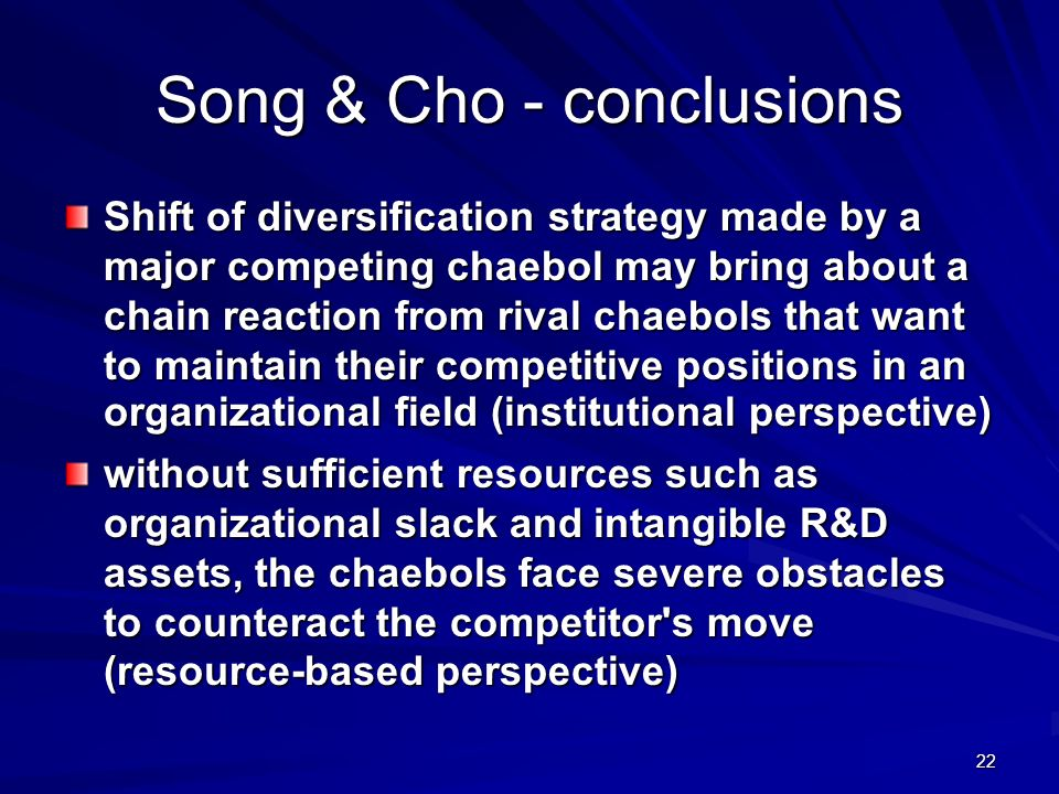 Song & Cho - conclusions