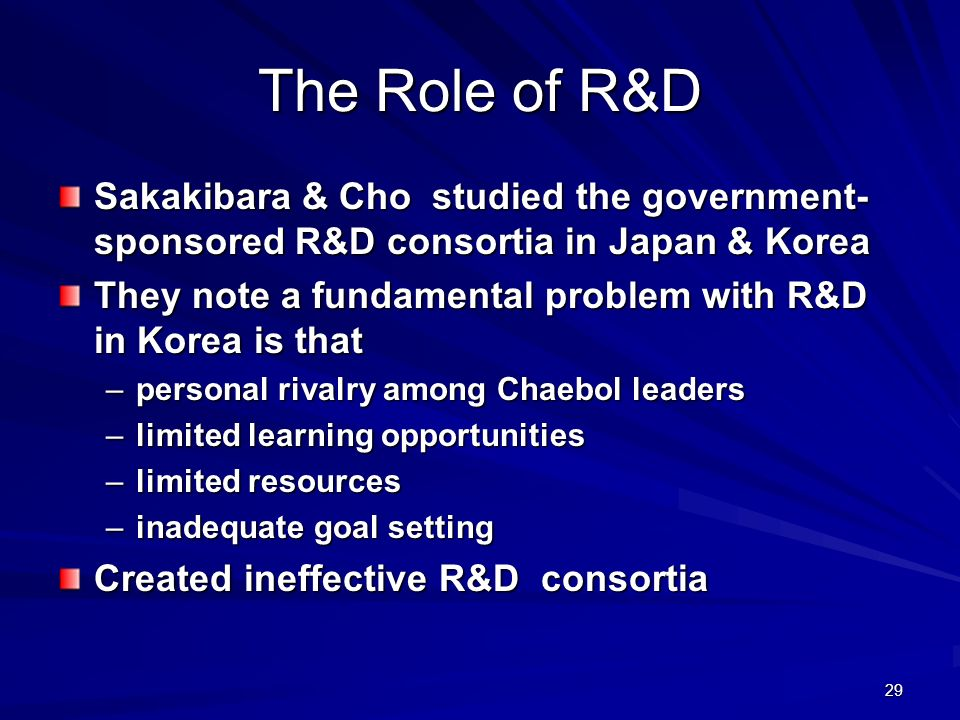 The Role of R&D Sakakibara & Cho studied the government-sponsored R&D consortia in Japan & Korea.