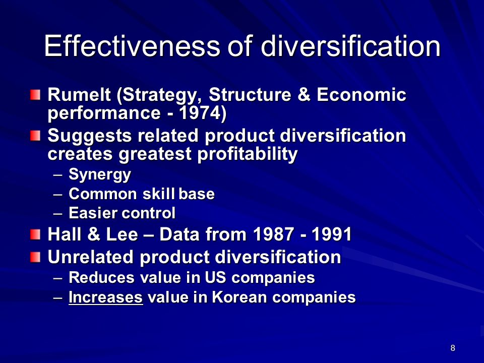 Effectiveness of diversification