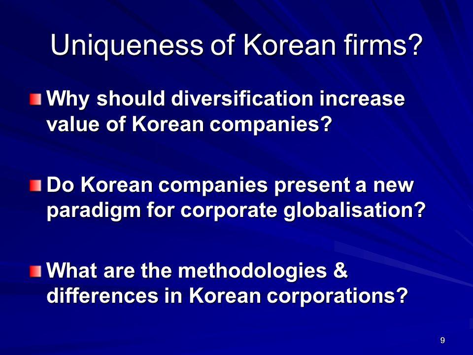 Uniqueness of Korean firms