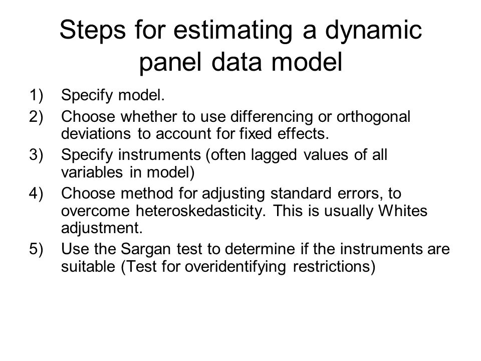 Steps for estimating a dynamic panel data model