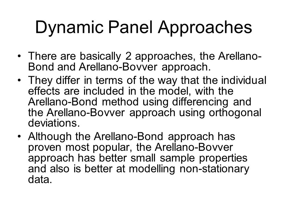 Dynamic Panel Approaches