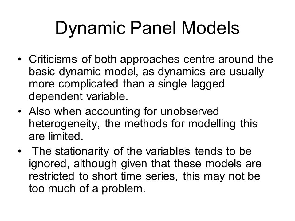 Dynamic Panel Models
