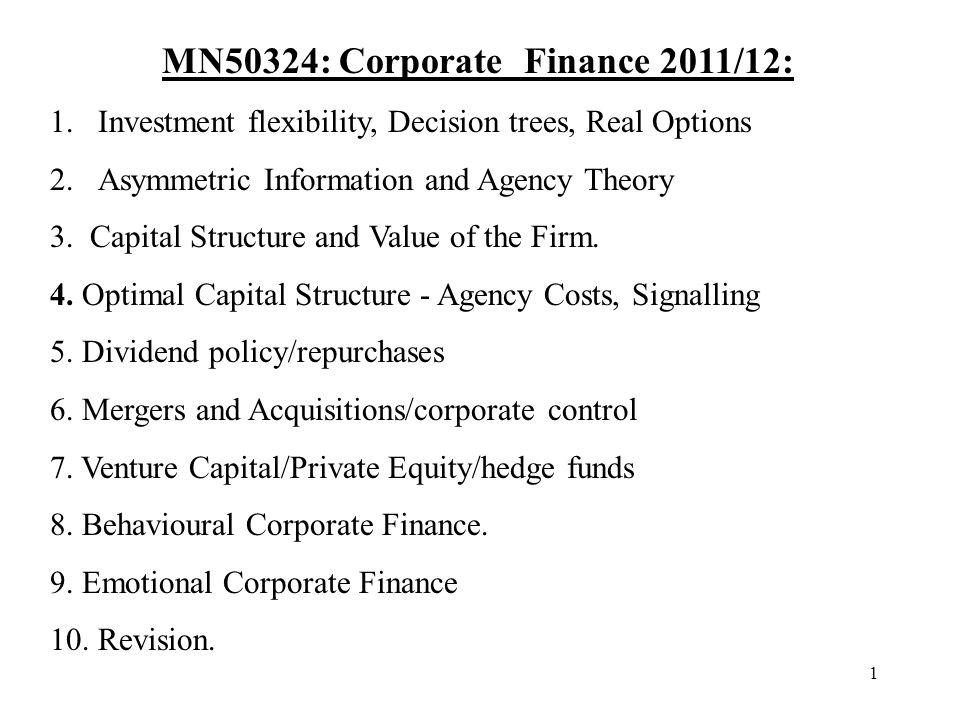 MN50324: Corporate Finance 2011/12:
