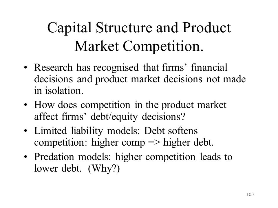 Capital Structure and Product Market Competition.