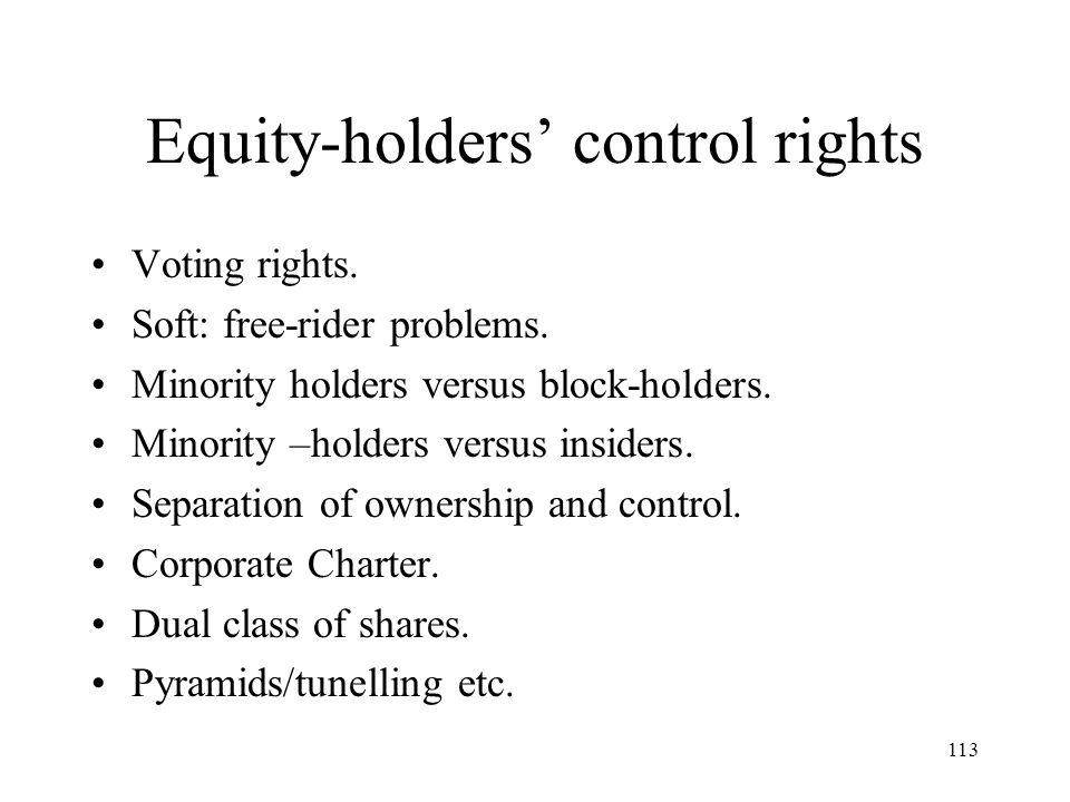 Equity-holders' control rights