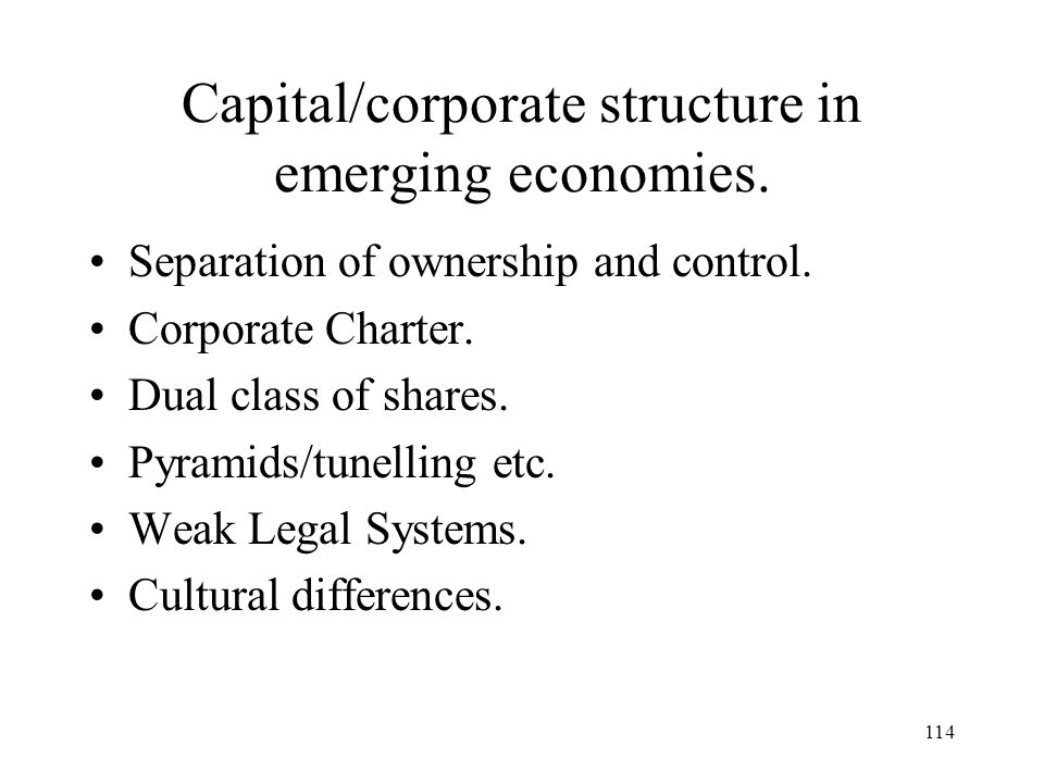 Capital/corporate structure in emerging economies.