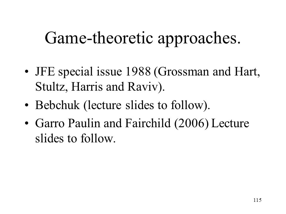 Game-theoretic approaches.