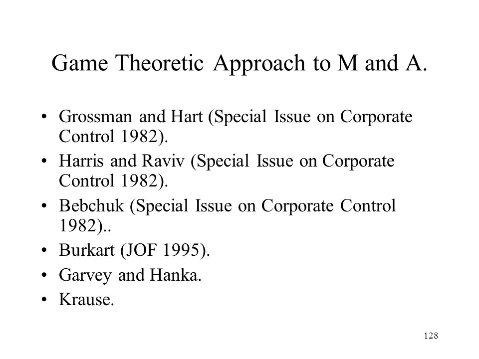 Game Theoretic Approach to M and A.