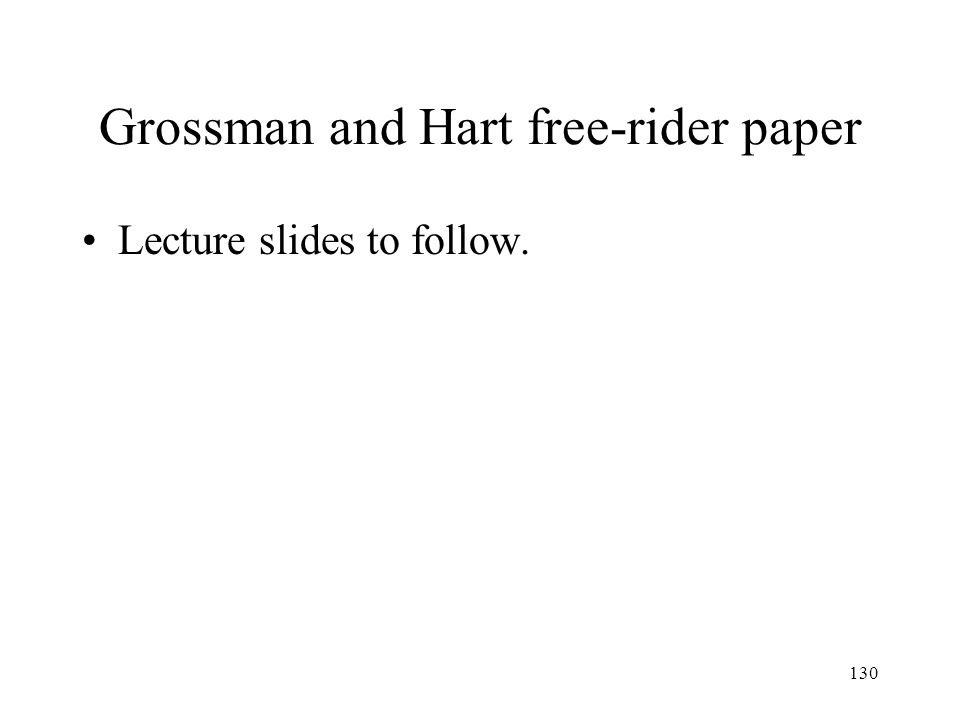 Grossman and Hart free-rider paper