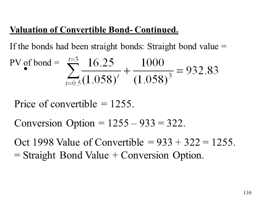 Price of convertible = 1255. Conversion Option = 1255 – 933 = 322.