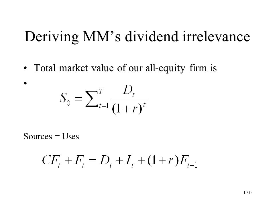 Deriving MM's dividend irrelevance