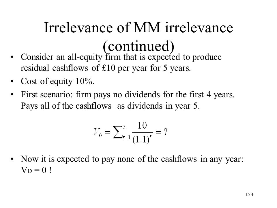 Irrelevance of MM irrelevance (continued)
