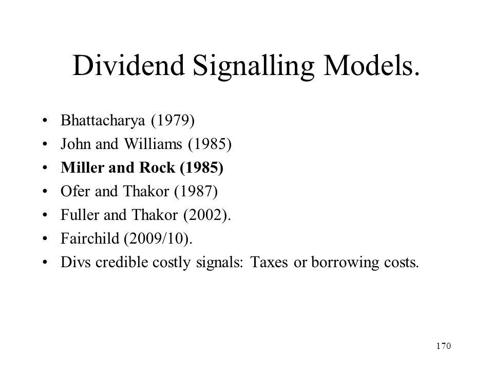 Dividend Signalling Models.