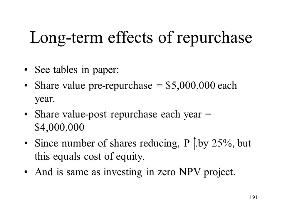 Long-term effects of repurchase