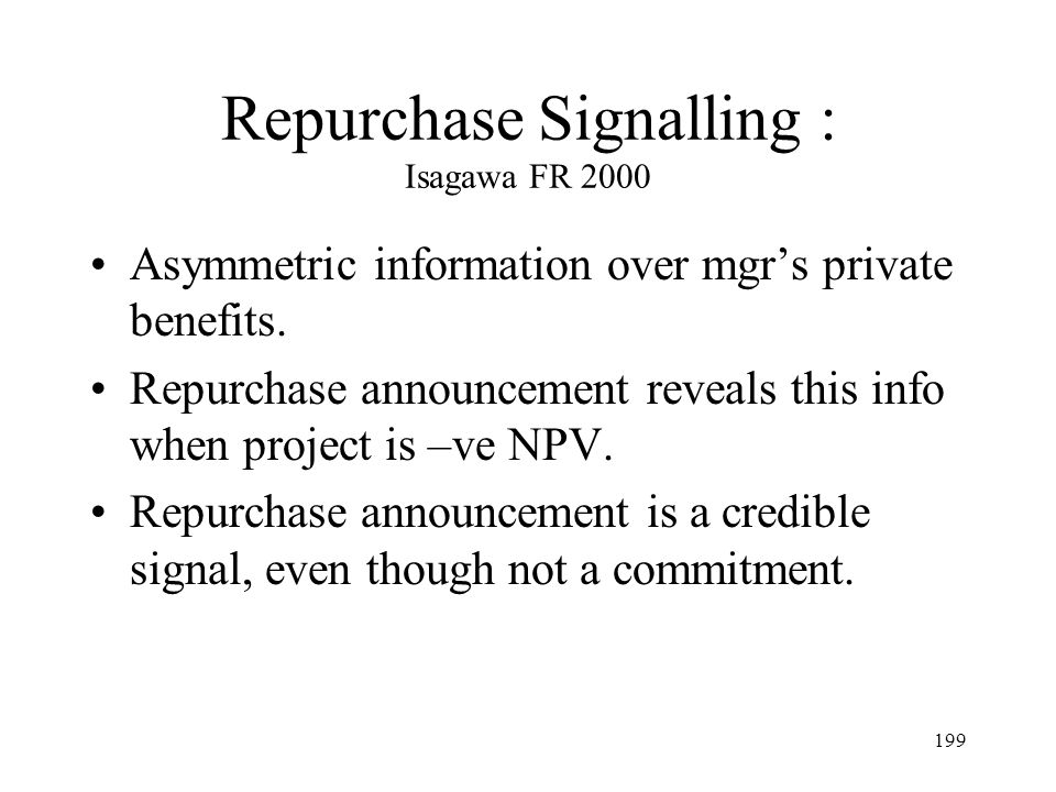 Repurchase Signalling : Isagawa FR 2000